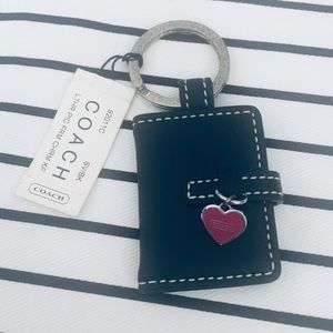 Coach Heart Leather Picture Keychain 💜